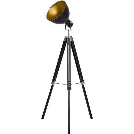HOMCOM Lampadaire trépied Style Industriel Hauteur réglable Abat-Jour Ajustable E27 40W Max. 65 x 65 x 100-144 cm Bois métal Noir et doré