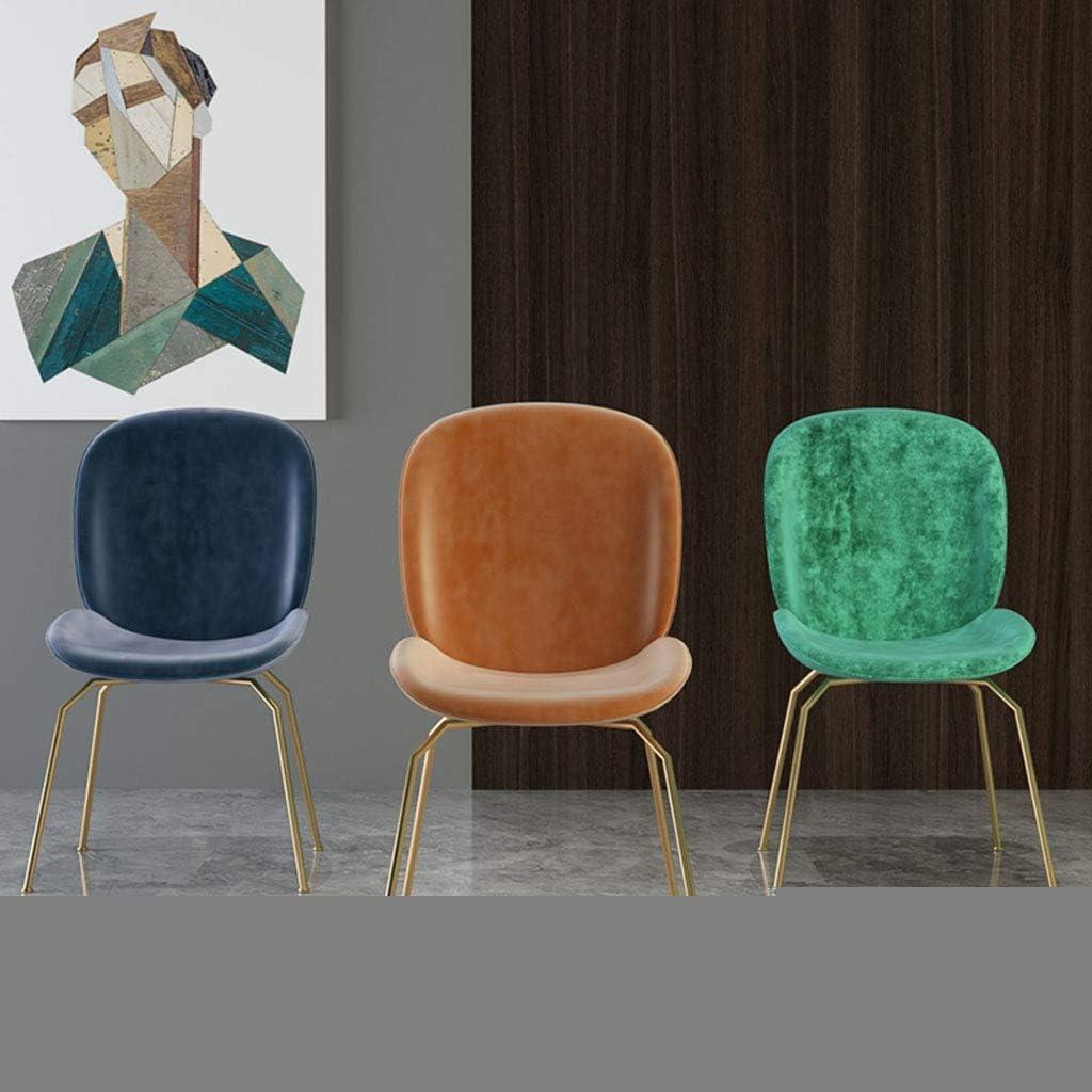Cuisine Salle À Manger Chaise Comptoir Salon Salon Chaise d'angle Coussin en Velours Et Chaise Arrière avec Pieds en Métal sans Accoudoirs Blue