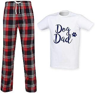 Mens Dog Dad Tartan Pyjama Set Fathers Day Pet Clothes Present
