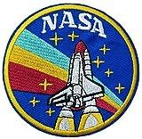 Retro Vintage NASA Logo Shuttle Stars Theme 3.5' Embroidered Patch DIY Iron-on or Sew-on Decorative Applique Space Explorer Planets Rocket Shuttle Astronaut Mission Control Stargazer Telescope
