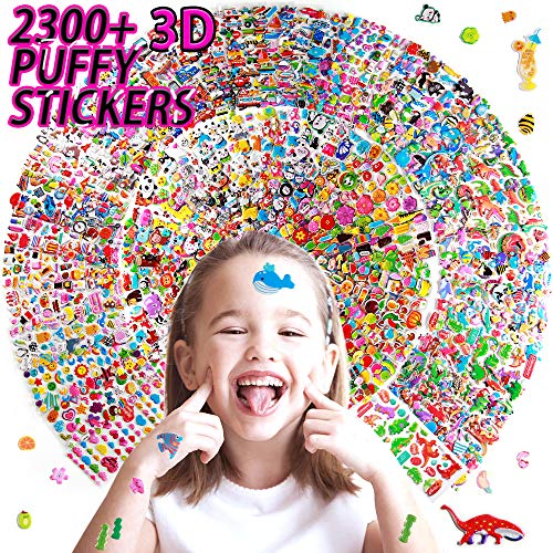 Sinceroduct Puffy Stickers for Kids?Novelty 64 Different Sheets Kids & Toddlers Mega Variety Pack - Over 2300 3D Puffy Stickers for Kids - Including Animals,Cars, Dinosaur, Fruits and More!