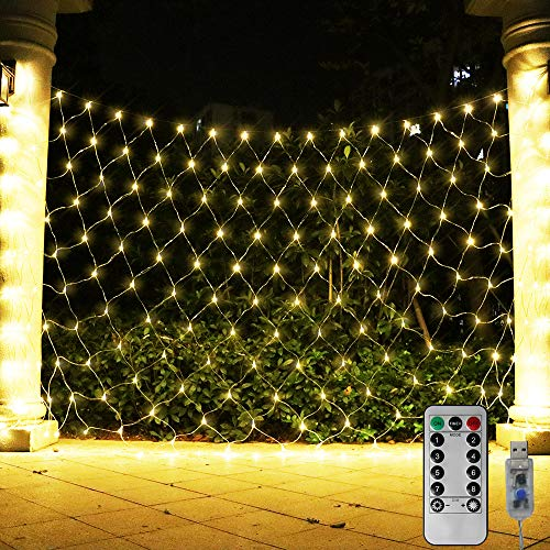 ASmile 204 LED Net Light Outdoor Mesh Lights, Backdrop Window Lights Remote Control Fairy Lights for Outdoor, Garden, Wedding Party, Christmas Decor-9.8ft x 6.6ft(Warm White)