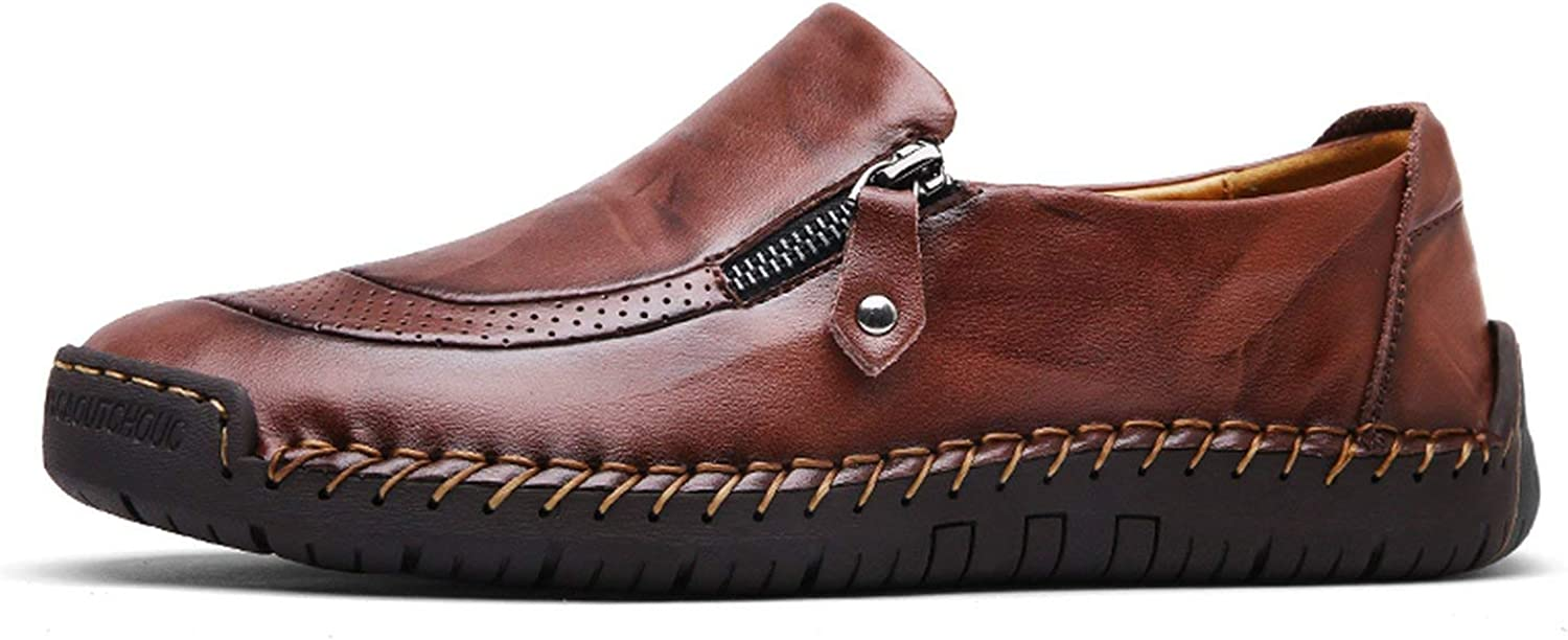 OH WHY Classic Men Casual shoes Loafers shoes Split Leather shoes Flats Moccasins shoes Plus Size