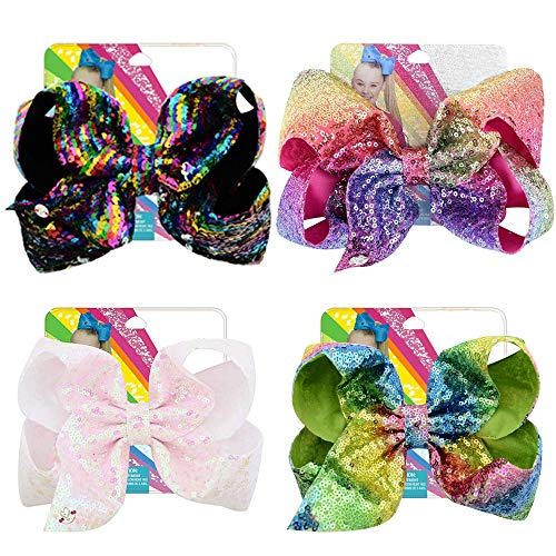 Kalolary 8 pulgadas Siwa Hair Bows Pinzas de cocodrilo para niñas 4pcs Arcos grandes Pasadores de pelo Accesorios para niños pequeños Adolescentes Niños