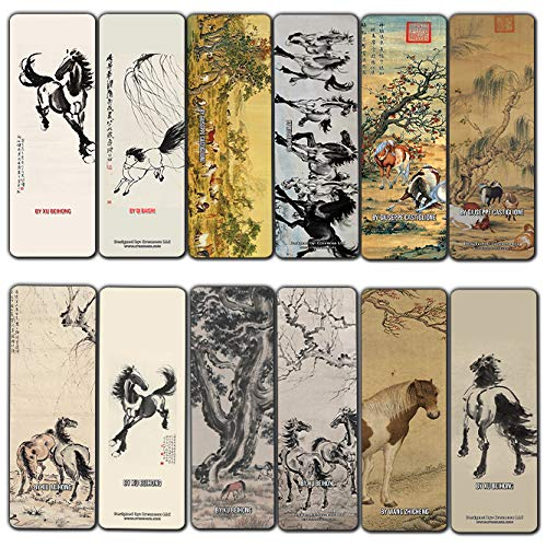 Creanoso Horse Chinese Painting Bookmarks (12-Pack) - Awesome Bookmarks for Men, Women, Teens – Six Bulk Assorted Bookmarks Designs – China Art Impressions Design – Cool Art Paints