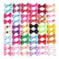 YAKA YAKA60Pcs/30Paris Cute Puppy Dog Small Bowknot Hair Bows with Clips(or Rubber Bands) Handmade Hair Accessories Bow Pet Grooming Topknot Products 60pcs,Cute Patterns