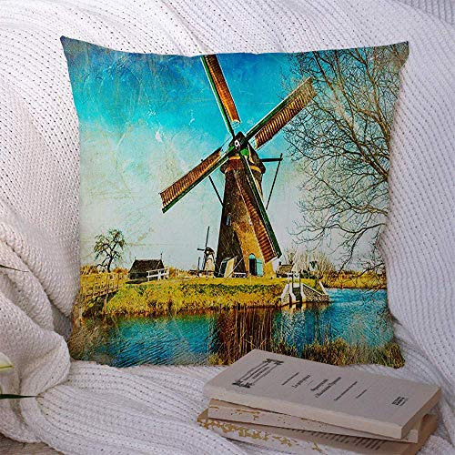 Throw Pillow Pillow Case Wooden Wind Travel Water Windmills Picturesque Holland Artwork Style Painting Nature Green Vintage Soft Cushion Case Throw Pillowcase