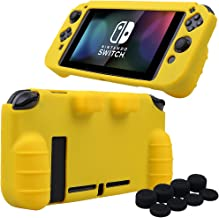 MXRC Silicone rubber cover skin case anti-slip Hand Grip Customize for Nintendo Switch x 1(yellow) + Joycon thumb grips x 8