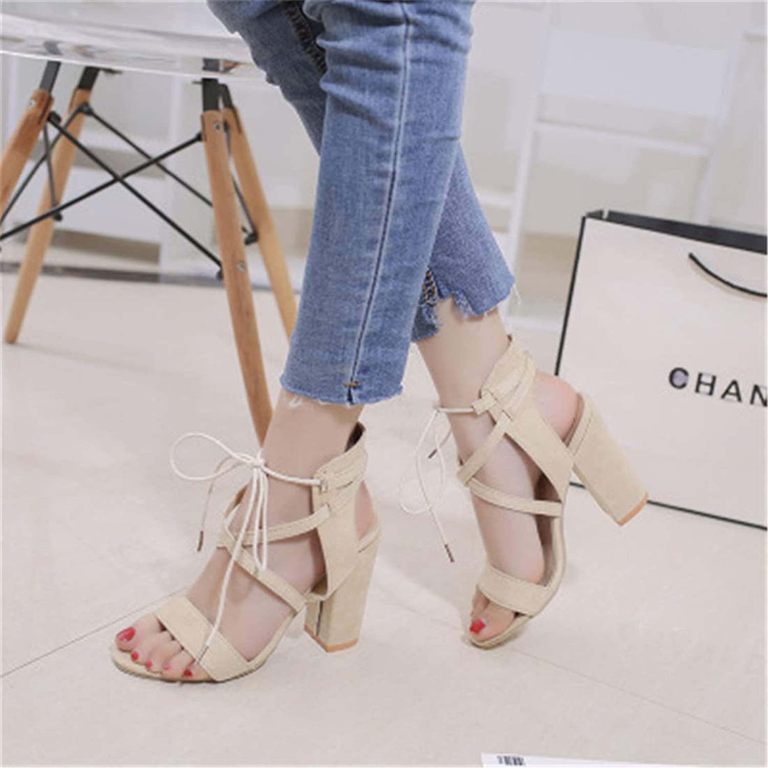 Women's Ankle Strap Adjustable Buckle Block Chunky Perspex High Heel Transparent Dress Sandals