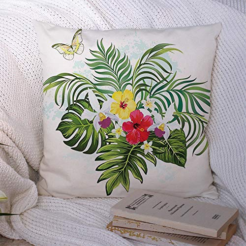 Pillow Covers Tropical Summer Forest Bali Tree Aloha Floral Bouquet Palm Print Leaves Hibiscus Nature with Style Decorative Polyester Throw Pillow Pillowcase Cushion Cover for Couch 18x18 Inch
