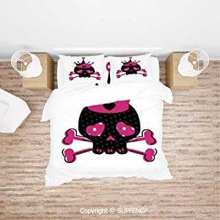 SCOXIXI 3D Bedding Sets Cute Royal Skull with Crown and Crossbones Day of The Dead Queen Heart Eyes (Comforter Not Included) Soft, Breathable, Hypoallergenic, Fade Resistant