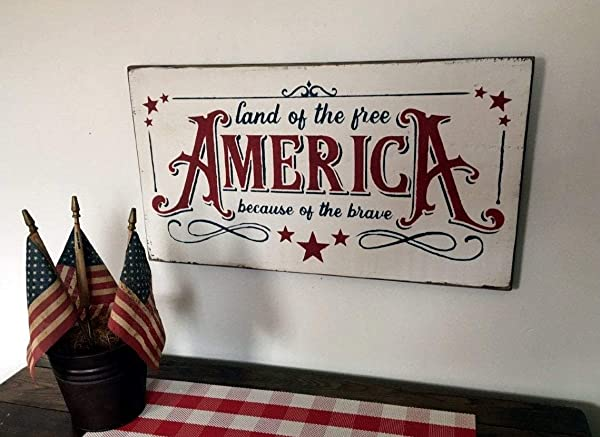 America Land Of The Free Because Of The Brave Vintage Wood Sign Rustic Wooden Signs Wood Block Plaque Wall Decor Art Home Decoration 14x24inch