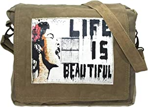 Vintage Canvas Messenger Bag | Laptop Bag | Crossbody Bag is Eco-friendly Upcycled with Graphic Art Print Life is Beautiful featuring Billie Holiday by Street Artist Banksy | Vintage Addiction
