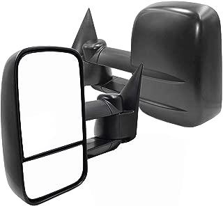 AERDM Towing Mirrors Fit 1999-2007 Chevy/GMC Silverado Sierra 2002-2006 Chevy Avalanche 2000-2006 Suburban Tahoe Yukon XL Manual Operated Textured Black Telescoping Trailer Side Mirrors
