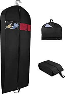 Univivi Garment Bag Suit Bag for Travel and Storage 60 Inch, Washable Polyester Oxford Fabric Garment Bags with Two Zipped Pockets and One Zipped Shoe Bag