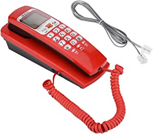 Pomya Corded Phone, FSK/DTMF Caller ID Telephone Desk Put Landline Fashion Extension Telephone with Call Waiting and Number Storage for Home Office Hotel(Red)