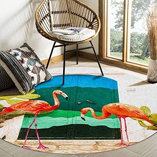 Alfombra grande redonda para sala de estar Cactus Flamingo Puerta de madera Pintura al óleo Alfombras decorativas contemporáneas Alfombrillas antideslizantes con respaldo de goma Dormitorio Ha