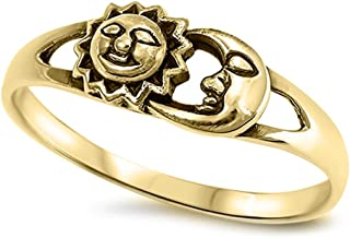 CHOOSE YOUR COLOR Sterling Silver Sun Moon Universe Ring