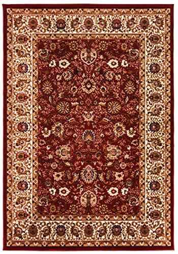 Carpeto Rugs Orientalisch Blumen Teppich - Kurzflor - Weich Teppich für Wohnzimmer, Schlafzimmer, Esszimmer - ÖKO-TEX Wohnzimmerteppich - Rot II - 80 x 150 cm