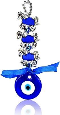 Reiki Crystal Products Metal Evil Eye Horse Shoe Car & Door/office Hanging, Standard, Blue, Blue & Silver, 1 Piece