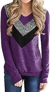 OPAKY Camisa de Manga Larga con Lentejuelas de Empalme de Moda para Mujer Blusa Mujer Camiseta Básica Casual Sudadera Mang...