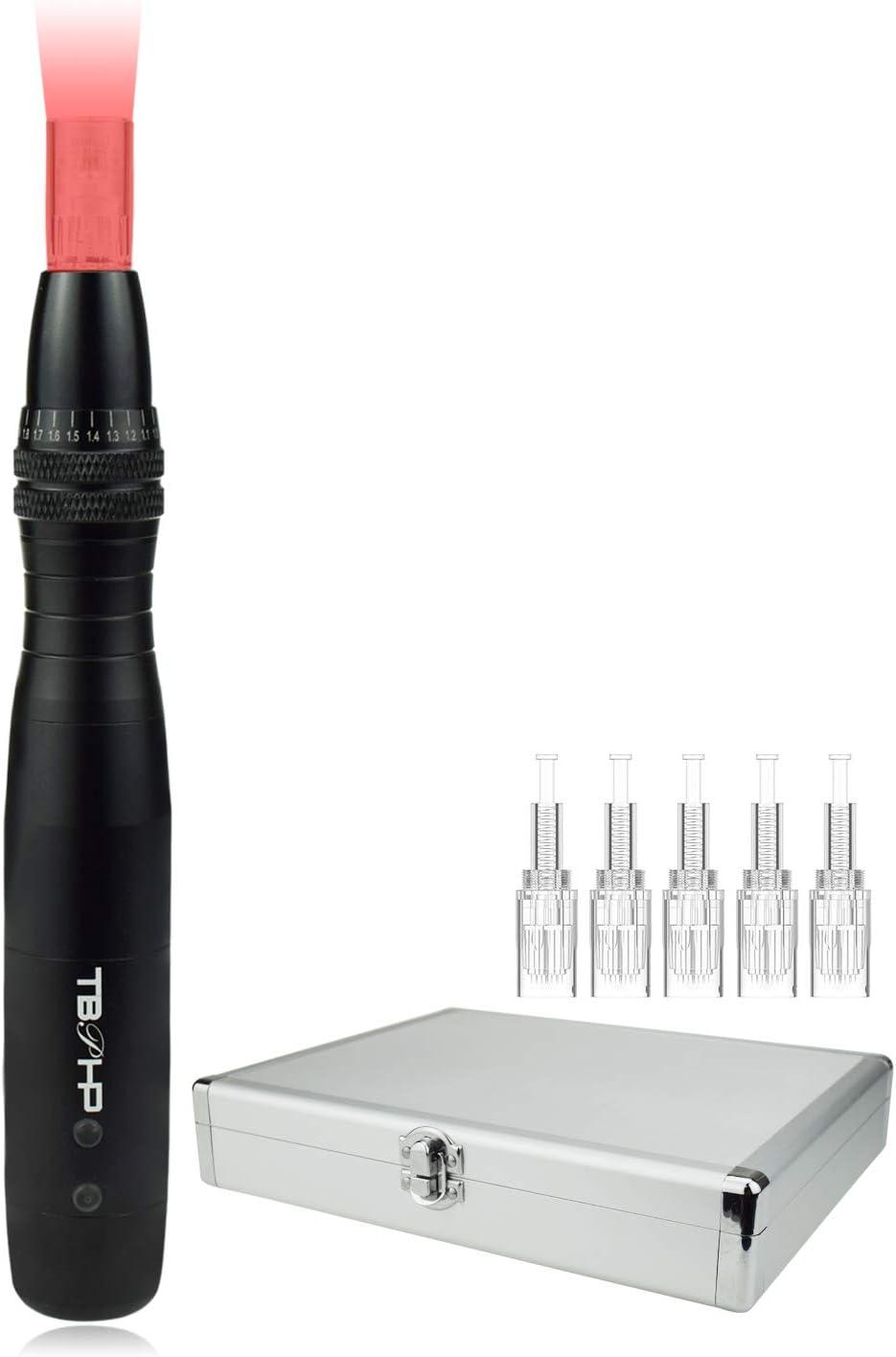 TBPHP DermaPen Microneedles Roller eléctrico pluma 0.25 mm-2.0 mm para microneedling, con 7 colores LED de acne Perdida de cabello Cara y cuerpo, con 5 piezas 12 micro agujas (Negro)