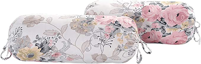 Swayam Floral Cotton Satin Bolster Cover -Set of 2