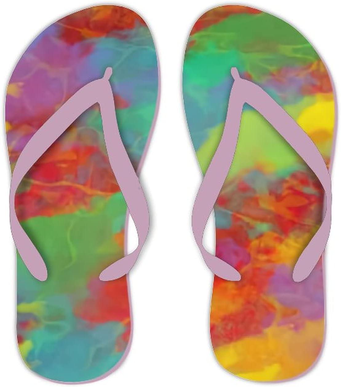 Summer Flip Flops for Men Women Abstract Background Soft Lightweight Non Slip Sandals for Shower Beach Pool Bathroom Flat 11.5