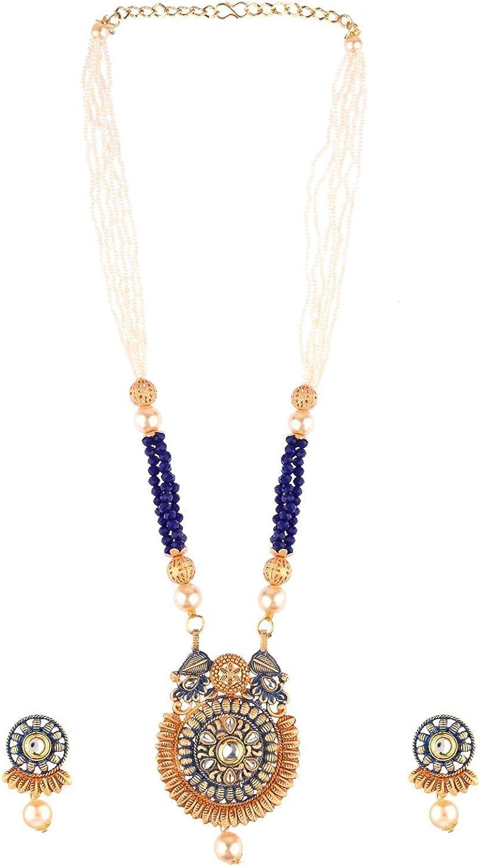 Efulgenz Indian Jewelry Bollywood Antique Faux Pearl Crystal Kundan Pendant Choker Necklace Earrings Wedding Jewelry Set