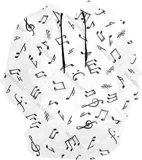 Music Notes Men's Hoodie Sweatshirt, Long Sleeve Hoodie Casual Top