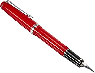 PILOT Falcon Collection Fountain Pen, Red Barrel with Rhodium Accents, Soft Fine Nib, Blue Ink (71621)