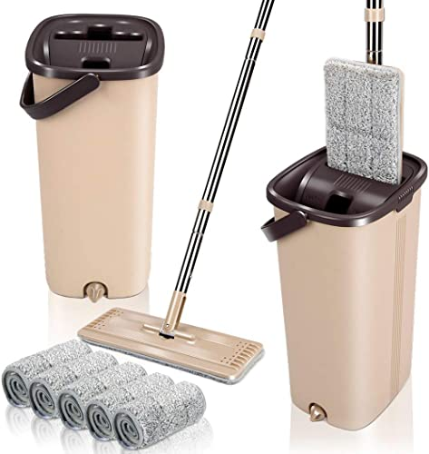 Squeeze Flat Floor Mop and Bucket Set with 5 Microfiber Mop Pads Refills Easy Self-Wringing Cleaning Mop Bucket Wet a...
