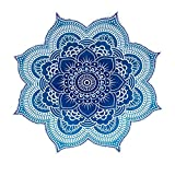 Popular Handicrafts Large Round Lotus Flower Mandala Tapestry-100% Cotton-Outdoor Beach Roundie-Hippie Gypsy Boho Throwl Tablecloth Wall Hanging Yoga/Picnic/Camping Mat-Ocean Blue Turquoise-72'