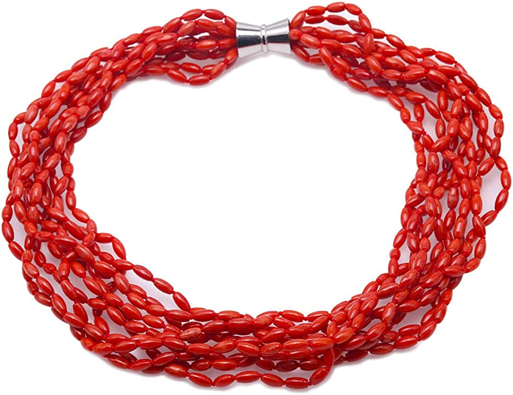 JYX JEWELRY Multi-strands Red Coral Necklace for Women 10 Strands Irregular 4.5×8.5mm Red Coral Beads Necklace 25