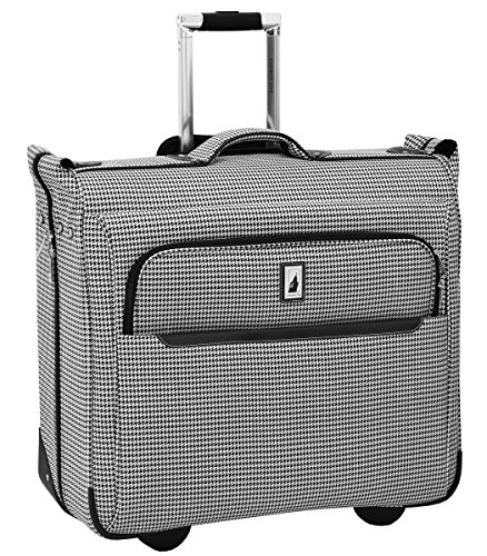 LONDON FOG Cambridge II Softside Rolling Garment Bag, Black White Houndstooth, 44-Inch