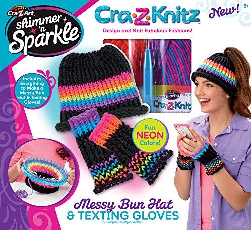 Cra-Z-Art CRA-Z-Knitz Messy Bun Hat & Texting Gloves Knitz Hat & Gloves