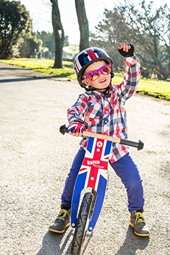 Kiddimoto Children's Cycling Gloves Breathable Half Finger Non-slip for Kids Bicycle, Balance Bike, Scooter, and Skateboard / Gloves for Girls and Boys - Union Jack - Medium (4-8 years)