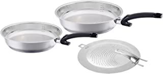 Fissler Crispy steelux comfort / Fry-Pan Set with splatter screen, (10-Inches, 12-Inches), Stainless Steel Cookware, Compatible-Stovetops: Induction, Gas, Electric, Dishwasher-Safe