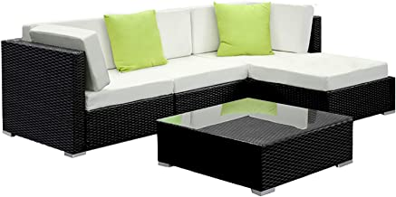 Gardeon 5pcs Outdoor Sofa Modular Lounge Wicker Rattan Furniture Garden Patio