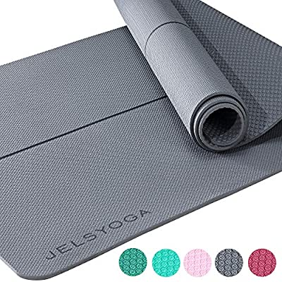 """TENOL JELS Yoga Mat Non Slip Eco Friendly SGS Certified TPE Yoga Mat Extra Thick 1/4"""" Exercise ? Fitness Mat with a Carrying Strap for Yoga Pilates and Bikram (Gray)"""