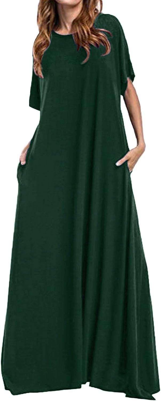 Kidsform Women Maxi Dress Loose Round Neck Short Sleeve Solid Plain Long Dress with Pocket