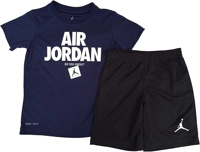 Jordan Air Boy`s Indefinitely T-Shirt and Shorts Purchase Black Piece 2 85 Set