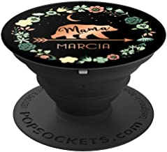 Marcia Name Gift Floral Personalized Mama Bear PopSockets Grip and Stand for Phones and Tablets