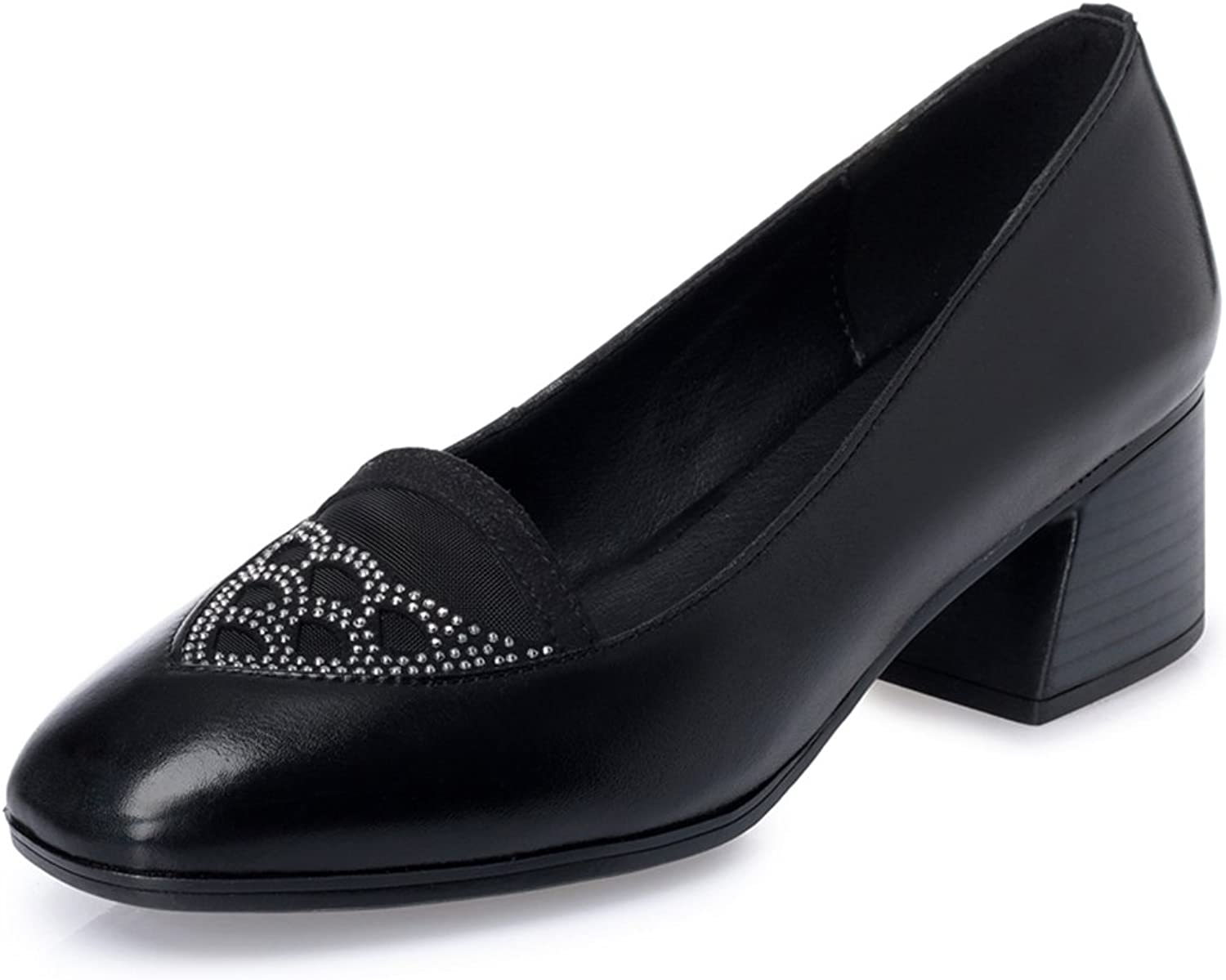Womens Genuine Leather Rhinestone Hollow Out Slip On Work shoes Loafer