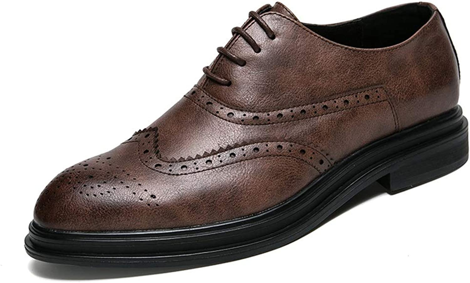 CHENDX shoes, Men's Casual Comfortable Trend Business Oxford Classic Carving Brogue shoes (Patent Leather Optional) (color   Brown, Size   8.5 UK)