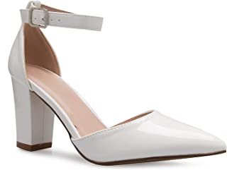 OLIVIA K Women's Sexy D'Orsay Ankle Strap Pointed Toe Block Heel Pump - Classic, Comfortable