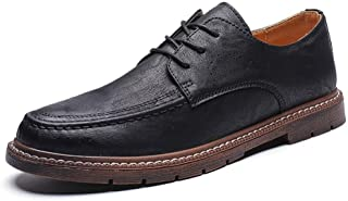 2019 Mens New Lace-up Flats Mens Oxford Shoes Round Toe Formal Shoes for Men Lace Up Style Microfiber Leather Simple Solid Color Comfortable Durable