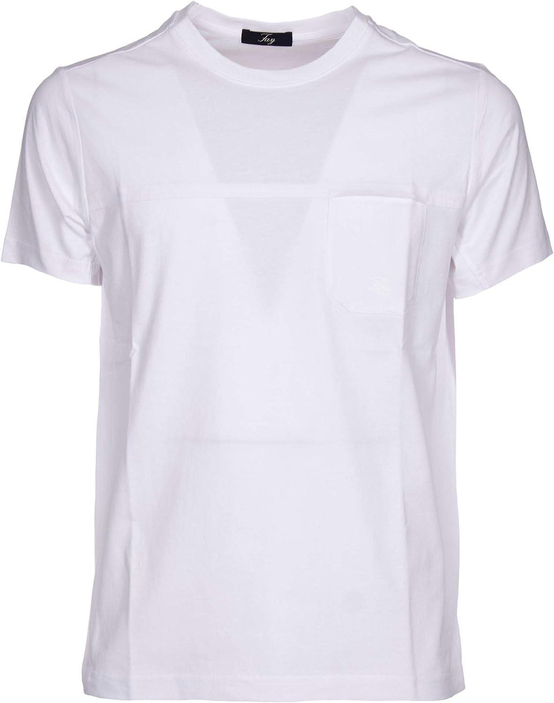 FAY Men's NPMB3381330PKUB001 White Cotton TShirt