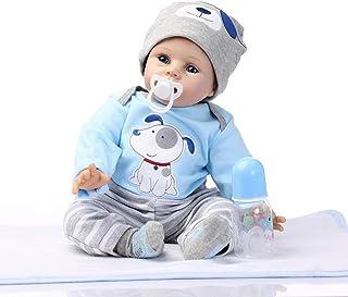 Doll 21.7 Inch 55Cm Lifelike Reborn Baby Simulation With Magnetic Dummy Silicone Cloth Body Blue Dog Clothes Boy Girl Toy ...