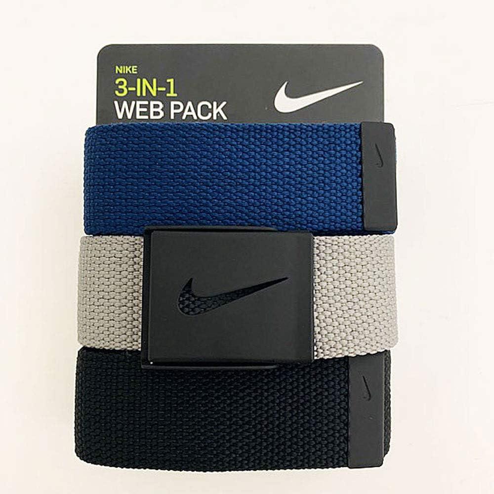 Nike Men's 3 Pack Web Belt, Matte Black Hardware, Black/Grey/Navy, One Size